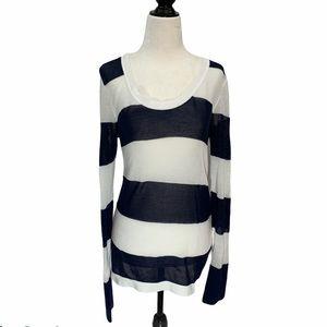 Tommy Bahama Loose Weave Sweater Wide Stripe M